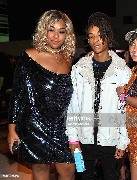 Jordyn Woods and Actor Jaden Smith attend Boohoo X Jordyn Woods Launch Event at NeueHouse Hollywood on August 31 2016 in Los Angeles California
