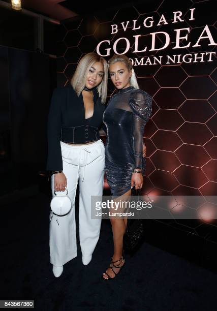 Jordyn Woods and Anastasia Karanikolaou attend Bulgari 'Goldea The Roman Night' fragrance launch party at 1 Hotel Brooklyn Bridge on September 6 2017...