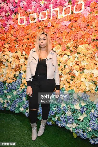 Jordyn Woods attends the boohoocom Flagship LA Pop Up Store with opening party fueled by CIROC UltraPremium Vodka on April 1 2016 in Los Angeles...
