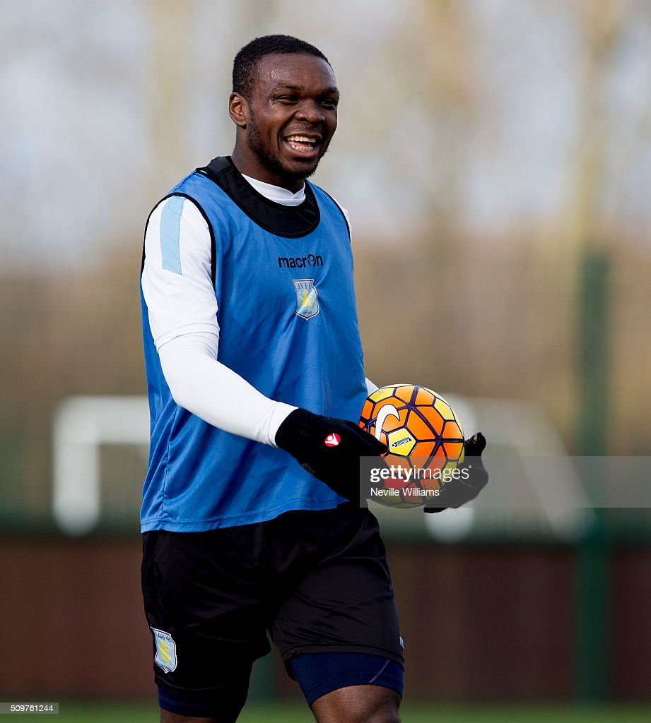 Jores Okore of Aston Villa in action during a Aston Villa training session at the club's training ground at Bodymoor Heath on February 12, 2016 in Birmingham, England.