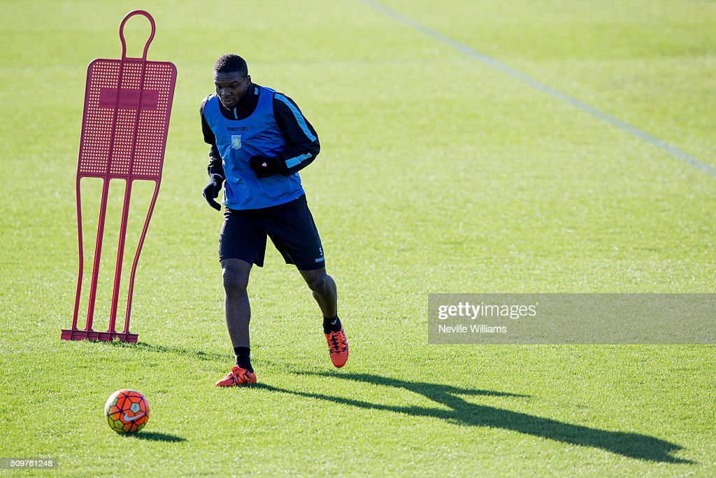 <a gi-track='captionPersonalityLinkClicked' href=/galleries/search?phrase=Jores+Okore&family=editorial&specificpeople=8802024 ng-click='$event.stopPropagation()'>Jores Okore</a> of Aston Villa in action during a Aston Villa training session at the club's training ground at Bodymoor Heath on February 12, 2016 in Birmingham, England.