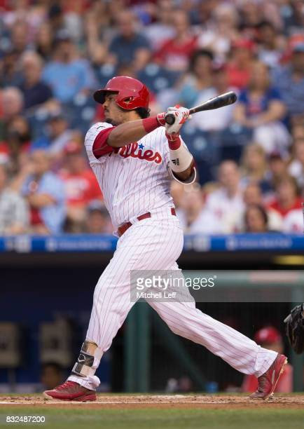 Jorge Alfaro of the Philadelphia Phillies bats against the New York Mets at Citizens Bank Park on August 11 2017 in Philadelphia Pennsylvania