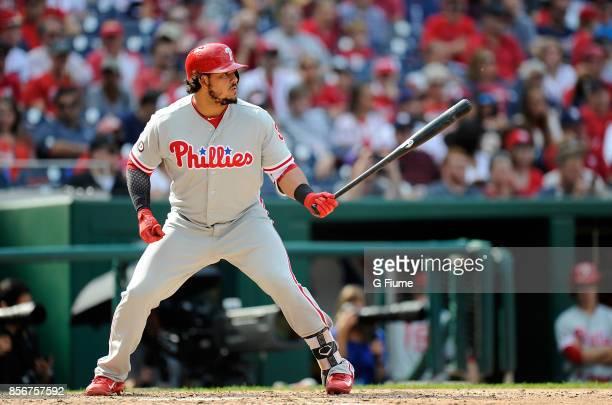 Jorge Alfaro of the Philadelphia Phillies bats against the Washington Nationals at Nationals Park on September 10 2017 in Washington DC
