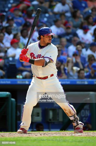 Jorge Alfaro of the Philadelphia Phillies bats during a game against the New York Mets at Citizens Bank Park on August 13 2017 in Philadelphia...