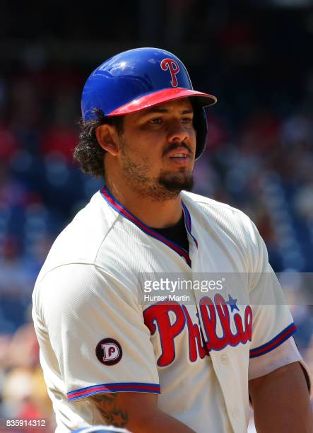 Jorge Alfaro of the Philadelphia Phillies during a game against the New York Mets at Citizens Bank Park on August 13 2017 in Philadelphia...