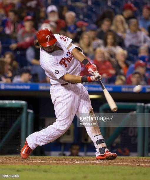 Jorge Alfaro of the Philadelphia Phillies hits a solo home run in the bottom of the sixth inning against the New York Mets at Citizens Bank Park on...