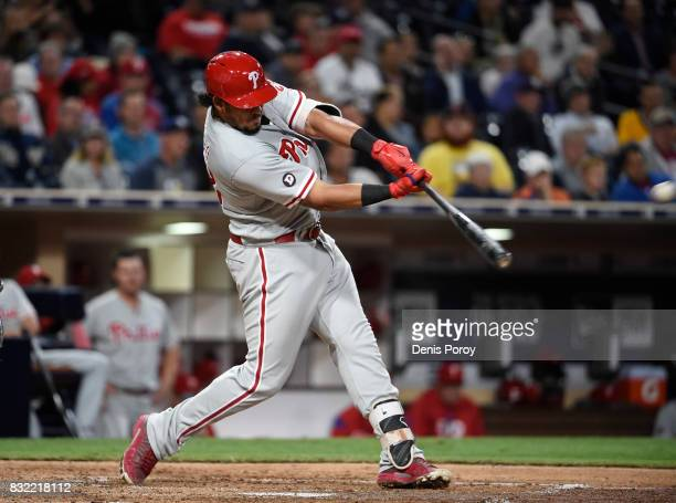Jorge Alfaro of the Philadelphia Phillies hits a two run home run during the fifth inning of a baseball game against the San Diego Padres at PETCO...