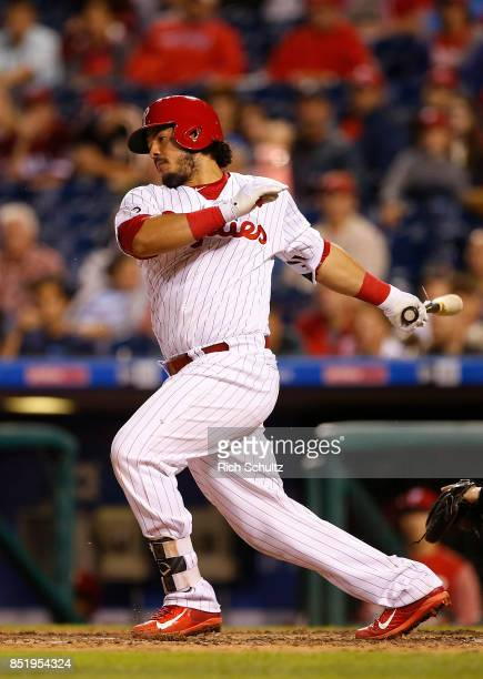 Jorge Alfaro of the Philadelphia Phillies in action against the Los Angeles Dodgers during a game at Citizens Bank Park on September 19 2017 in...