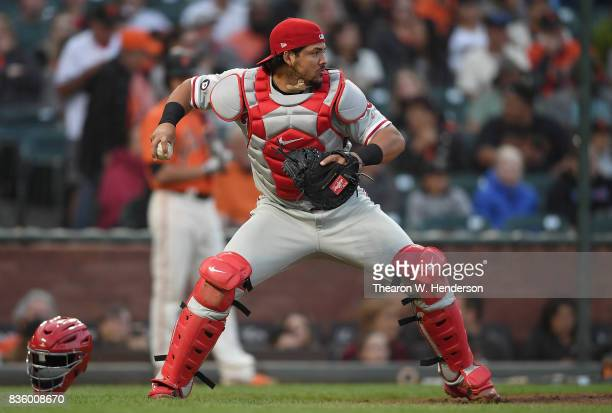 Jorge Alfaro of the Philadelphia Phillies in action against the San Francisco Giants in the bottom of the first inning at ATT Park on August 18 2017...
