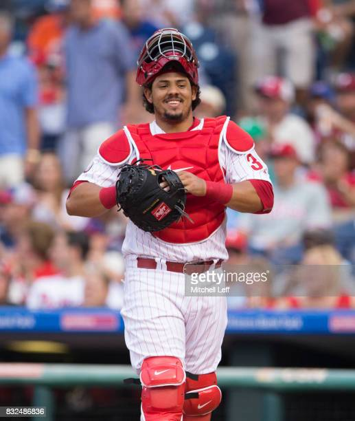 Jorge Alfaro of the Philadelphia Phillies plays against the New York Mets at Citizens Bank Park on August 11 2017 in Philadelphia Pennsylvania