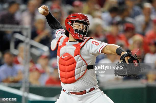 Jorge Alfaro of the Philadelphia Phillies throws the ball to second base against the Washington Nationals at Nationals Park on September 7 2017 in...