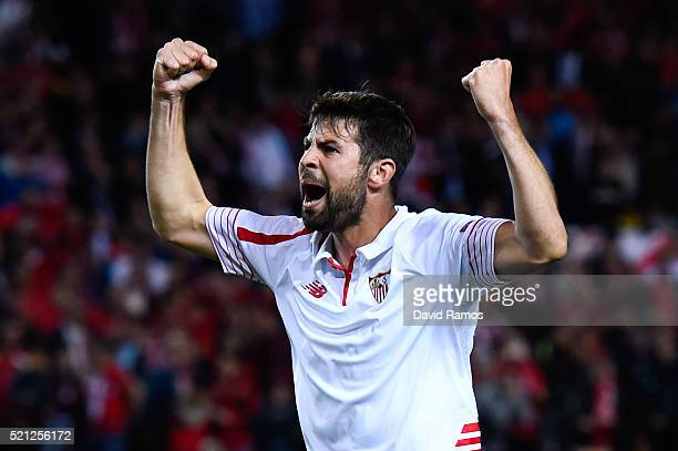 Jorge Andujar Moreno 'Coke' of Sevilla FC celebrates after scoring his penalty in the shoot out during the UEFA Europa League quarter final second...