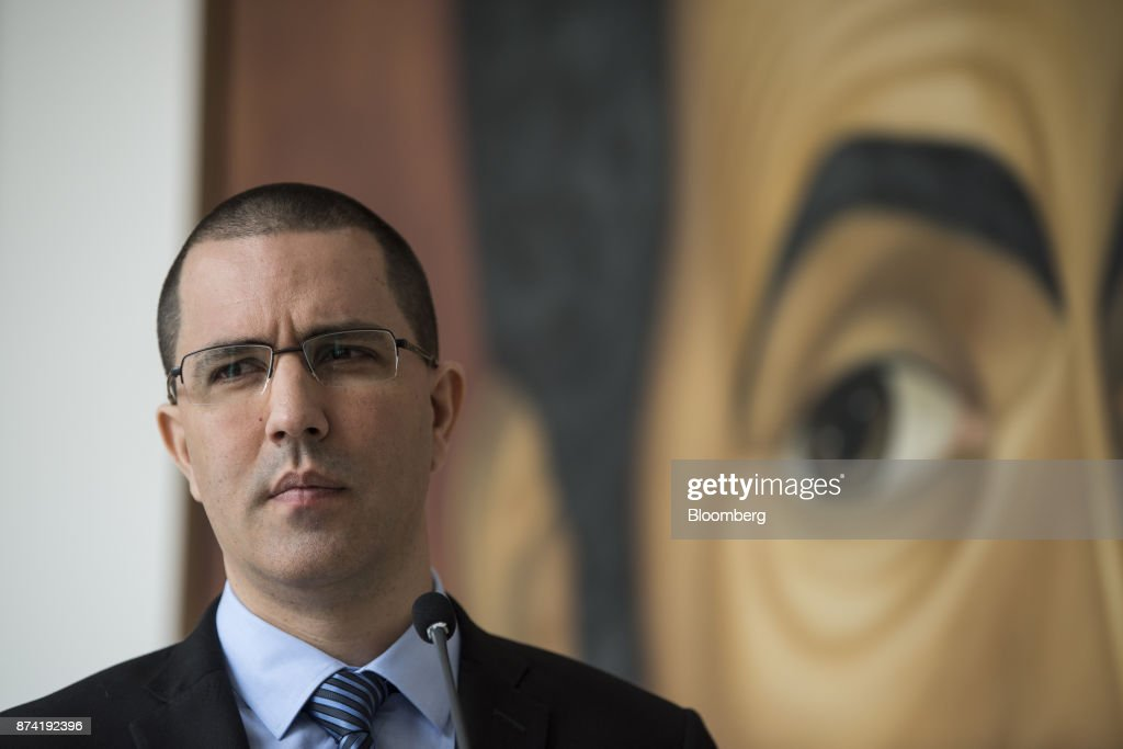 Jorge Arreaza, Venezuela's minister of foreign affairs, pauses during a press conference after a meeting with the European Union (EU) diplomatic corps at the Yellow House (Casa Amarilla) in Caracas, Venezuela, on Tuesday, Nov. 14, 2017. On November 13, EU nations decided to adopt targeted sanctions against Venezuela, including an 'embargo on arms and on related material that might be used for internal repression.' Photographer: Carlos Becerra/Bloomberg via Getty Images