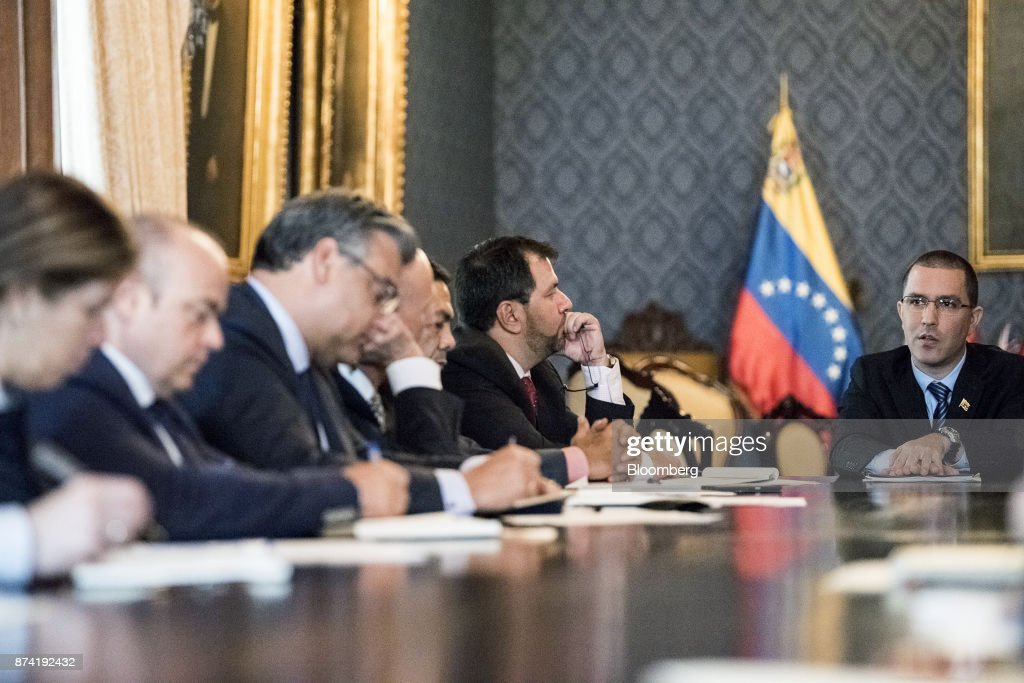 Jorge Arreaza, Venezuela's minister of foreign affairs, right, meets the European Union (EU) diplomatic corps at the Yellow House (Casa Amarilla) in Caracas, Venezuela, on Tuesday, Nov. 14, 2017. On November 13, EU nations decided to adopt targeted sanctions against Venezuela, including an 'embargo on arms and on related material that might be used for internal repression.' Photographer: Carlos Becerra/Bloomberg via Getty Images