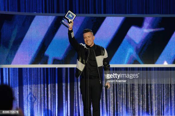 Jorge Bernal accepts award on stage at Telemundo's 2017 'Premios Tu Mundo' at American Airlines Arena on August 24 2017 in Miami Florida