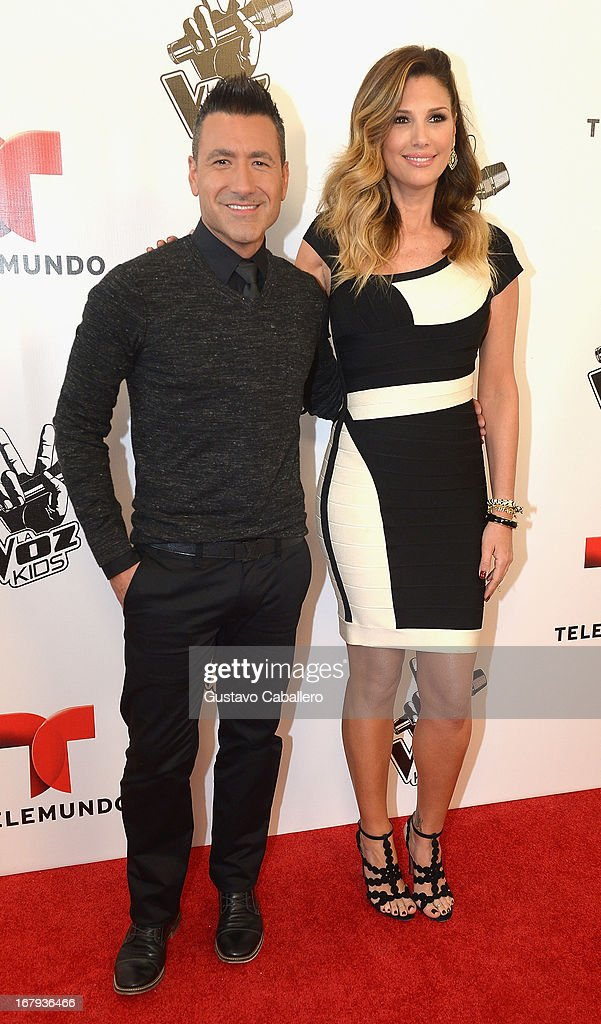 Jorge Bernal and <a gi-track='captionPersonalityLinkClicked' href=/galleries/search?phrase=Daisy+Fuentes&family=editorial&specificpeople=201611 ng-click='$event.stopPropagation()'>Daisy Fuentes</a> attend a press conference for Telemundo's 'La Voz Kids' on May 2, 2013 in Miami, Florida.