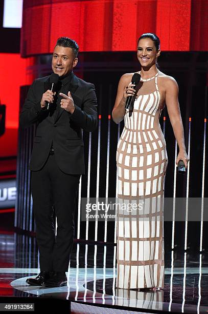 Jorge Bernal and Gaby Espino present the award for New Artist of the Year onstage during Telemundo's Latin American Music Awards at the Dolby Theatre...