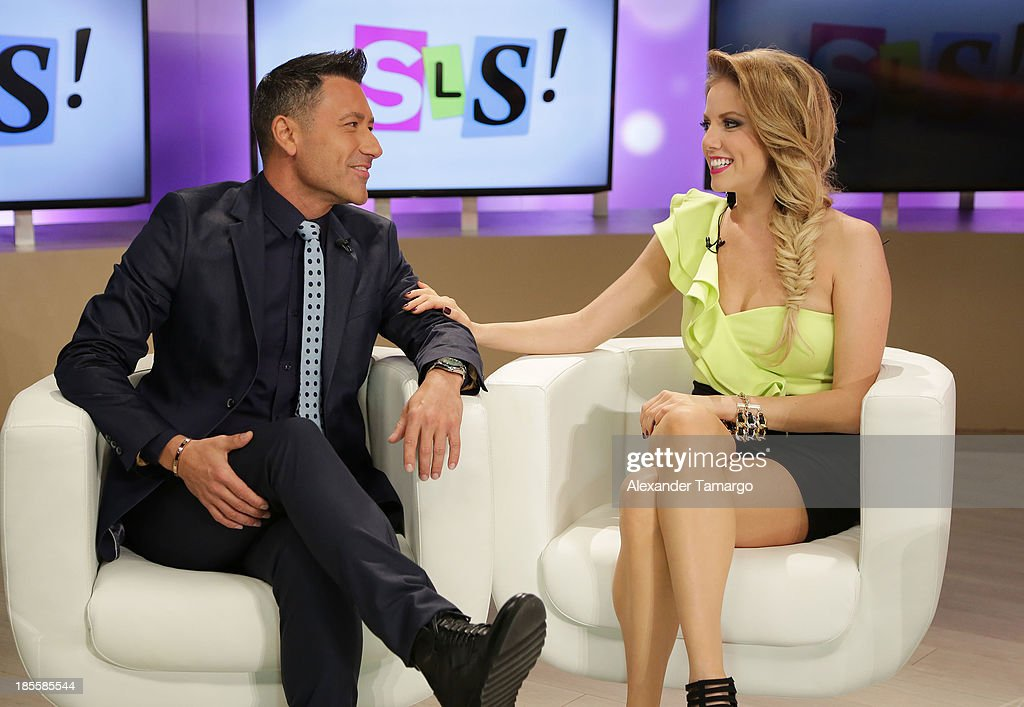 Jorge Bernal and Hannaley are seen on the set of the new Telemundo show 'Suelta La Sopa' on October 22, 2013 in Miami, Florida.