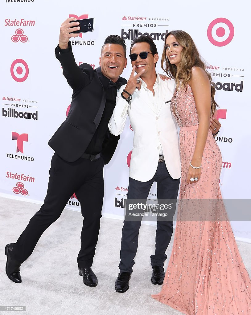 Jorge Bernal, Marc Anthony, Shannon de Lima arrive at 2015 Billboard Latin Music Awards presented by State Farm on Telemundo at Bank United Center on April 30, 2015 in Miami, Florida.