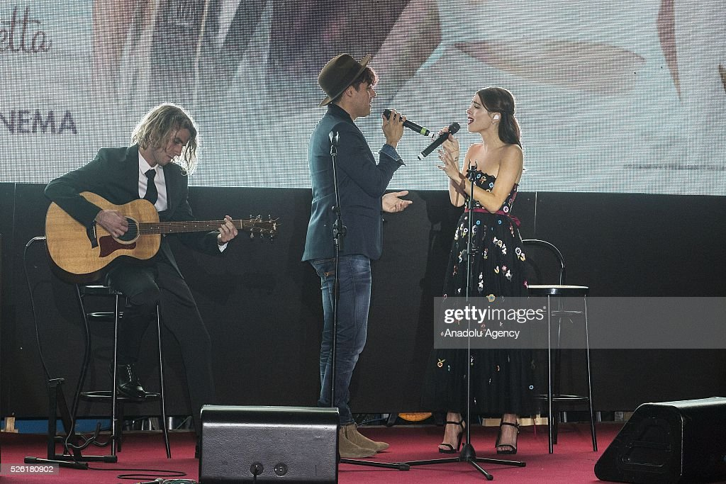 Jorge Blanco and Martina Stoessel sing a track of Tini during the premiere of Tini-La nuova vita di Violetta at Auditorium Parco della Musica on April, 29, 2016 in Rome, Italy.