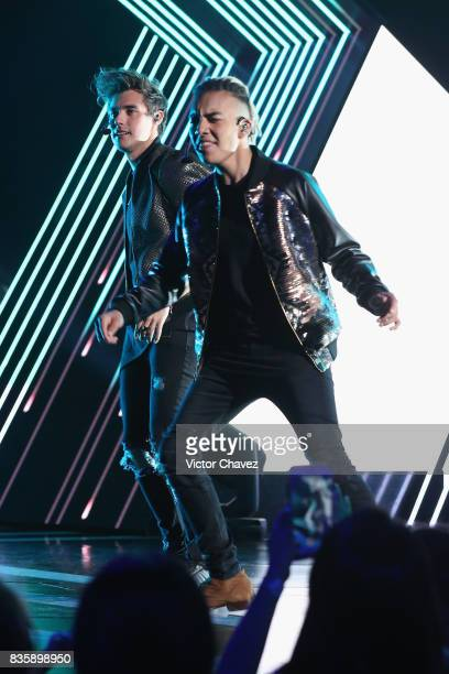 Jorge Blanco and Saak perform onstage during the Nickelodeon Kids' Choice Awards Mexico 2017 at Auditorio Nacional on August 19 2017 in Mexico City...