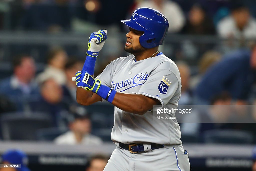Jorge Bonifacio #38 of the Kansas City Royals celebrates his go ahead solo home run in the seventh inning against the New York Yankees at Yankee Stadium on May 23, 2017 in the Bronx borough of New York City.
