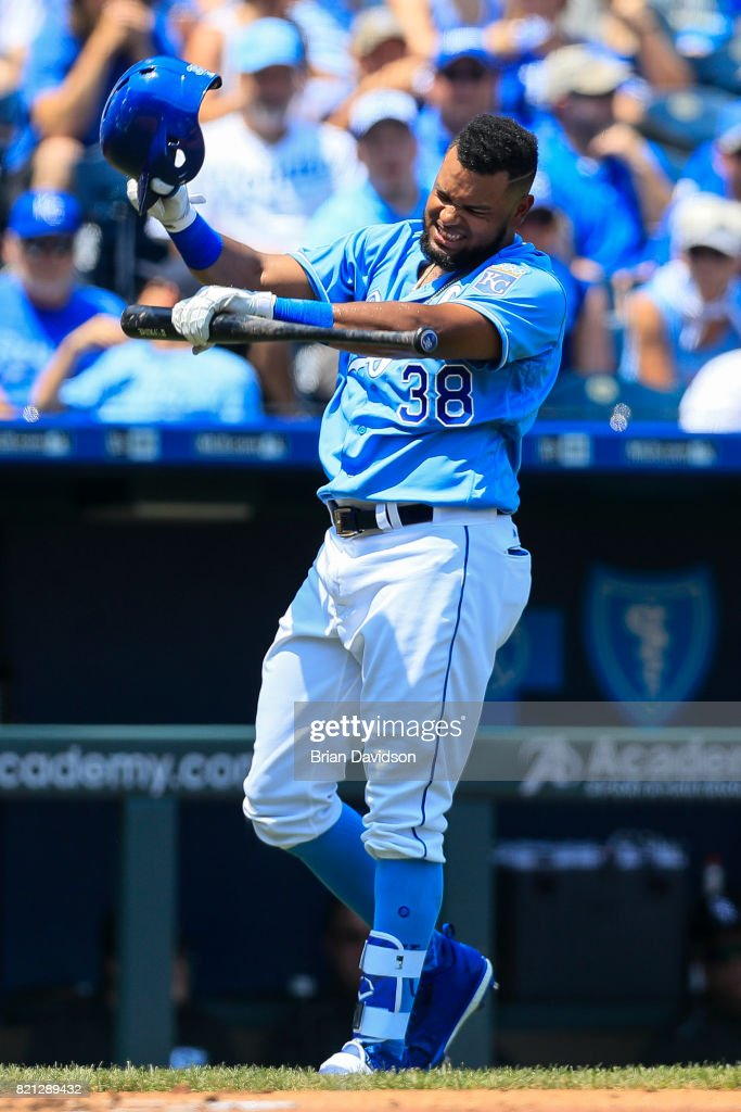 Jorge Bonifacio #38 of the Kansas City Royals reacts to being hit by a foul tip during the first inning against the Chicago White Sox at Kauffman Stadium on July 23, 2017 in Kansas City, Missouri.