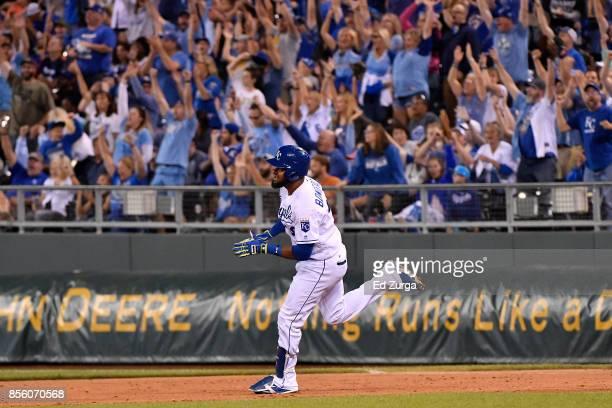 Jorge Bonifacio of the Kansas City Royals runs the bases after hitting a threerun home run in the sixth inning against the Arizona Diamondbacks at...
