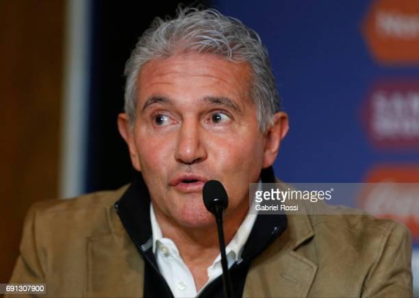 Jorge Burruchaga Manager of Argentina speaks during the presentation of Jorge Sampaoli as new Argentina coach at Argentine Football Association...