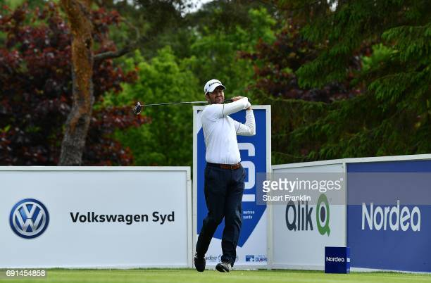 Jorge Campillo of Spain hits his tee shot on the 16th hole during the second round of The Nordea Masters at Barseback Golf Country Club on June 2...