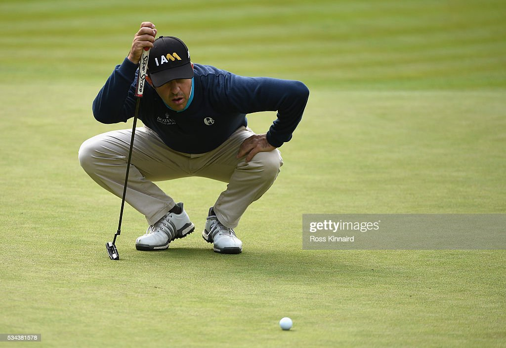 Jorge Campillo of Spain lines up on the 11th green during day one of the BMW PGA Championship at Wentworth on May 26, 2016 in Virginia Water, England.