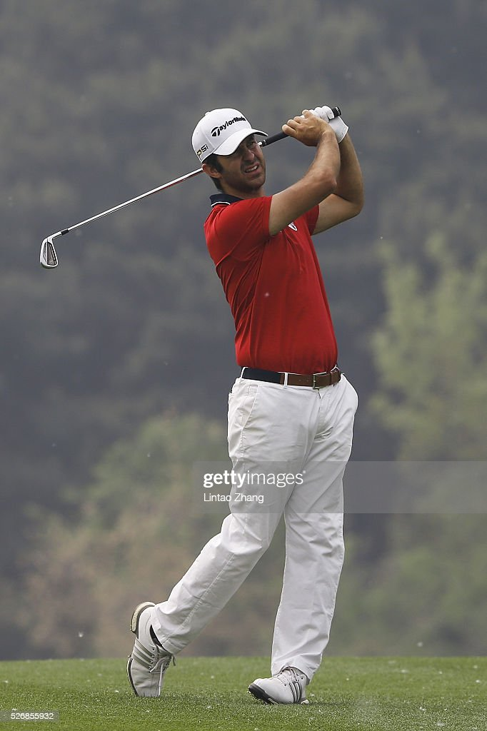 Jorge Campillo of Spain plays a shot during the final round of the Volvo China open at Topwin Golf and Country Club on May 1, 2016 in Beijing, China.