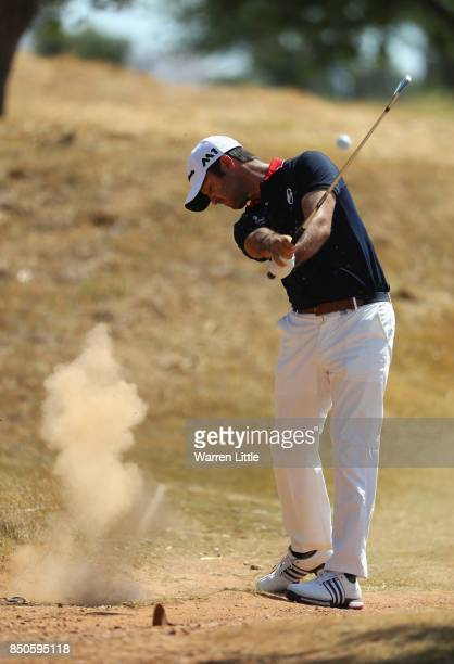 Jorge Campillo of Spain plays his second shot on the 3rd during day one of the 2017 Portugal Masters at Oceanico Victoria Golf Club on September 21...