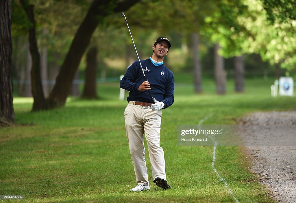 Jorge Campillo of Spain reacts to his 2nd shot on the 13th hole during day one of the BMW PGA Championship at Wentworth on May 26, 2016 in Virginia Water, England.