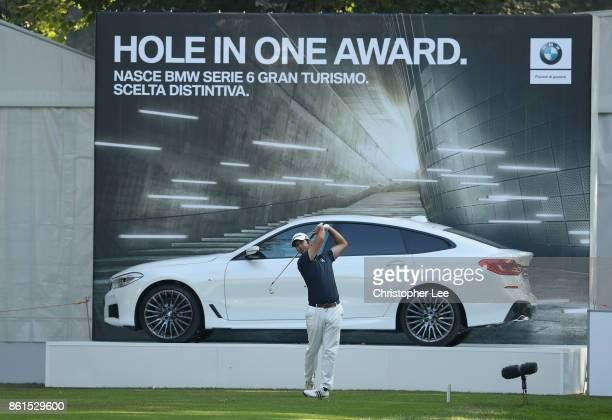 Jorge Campillo of Spain tees off during the final round of the 2017 Italian Open at Golf Club Milano Parco Reale di Monza on October 15 2017 in Monza...
