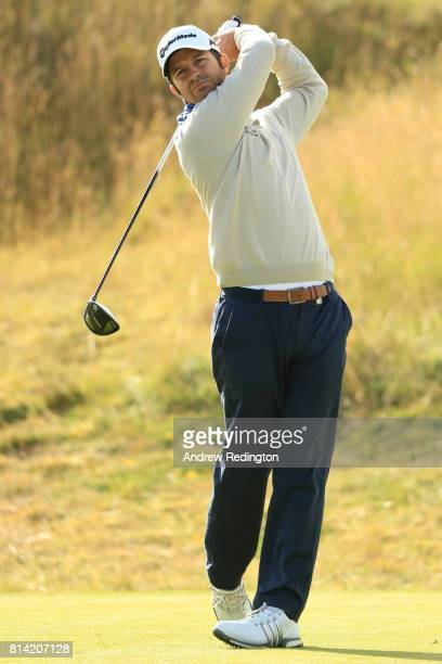 Jorge Campillo of Spain tees off on the 2nd hole during day two of the AAM Scottish Open at Dundonald Links Golf Course on July 14 2017 in Troon...