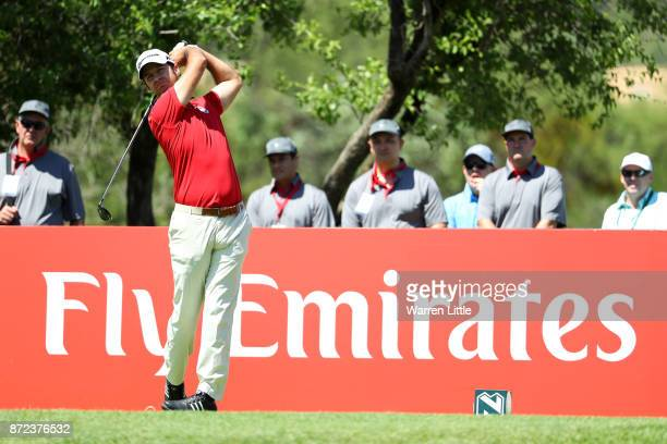 Jorge Campillo of Spain tees off on the 2nd hole during the second round of the Nedbank Golf Challenge at Gary Player CC on November 10 2017 in Sun...