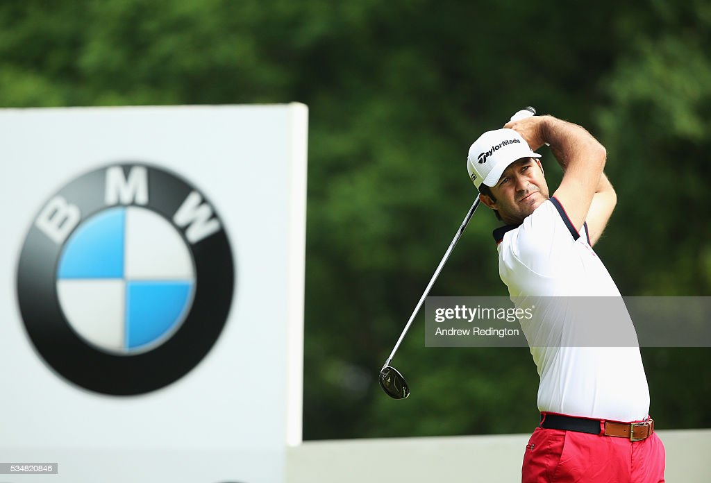 Jorge Campillo of Spain tees off on the 3rd hole during day three of the BMW PGA Championship at Wentworth on May 28, 2016 in Virginia Water, England.