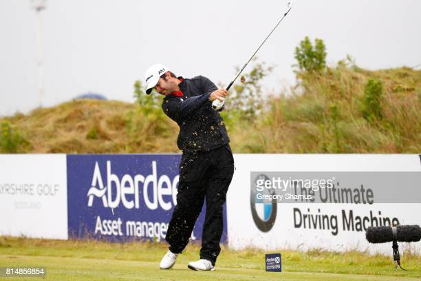 Jorge Campillo of Spain tees off on the 4th hole during day three of the AAM Scottish Open at Dundonald Links Golf Course on July 15 2017 in Troon...