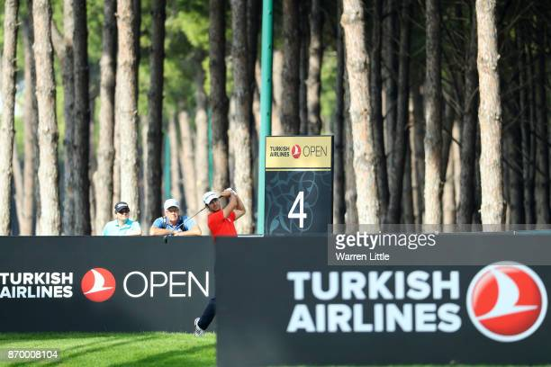 Jorge Campillo of Spain tees off on the 4th hole during the third round of the Turkish Airlines Open at the Regnum Carya Golf Spa Resort on November...