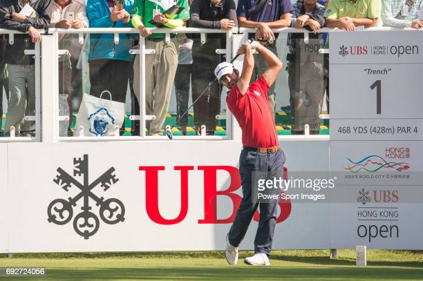 Jorge Campillo of Spain tees off the first hole during the 58th UBS Hong Kong Open as part of the European Tour on 08 December 2016 at the Hong Kong...
