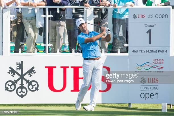 Jorge Campillo of Spain tees off the first hole during the 58th UBS Hong Kong Golf Open as part of the European Tour on 10 December 2016 at the Hong...