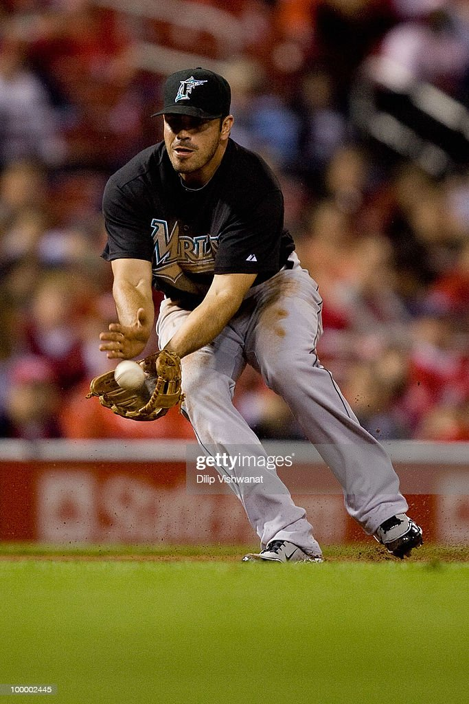 Jorge Cantu #3 of the Florida Marlins fields a ground ball against the St. Louis Cardinals at Busch Stadium on May 19, 2010 in St. Louis, Missouri. The Marlins beat the Cradinals 5-1.