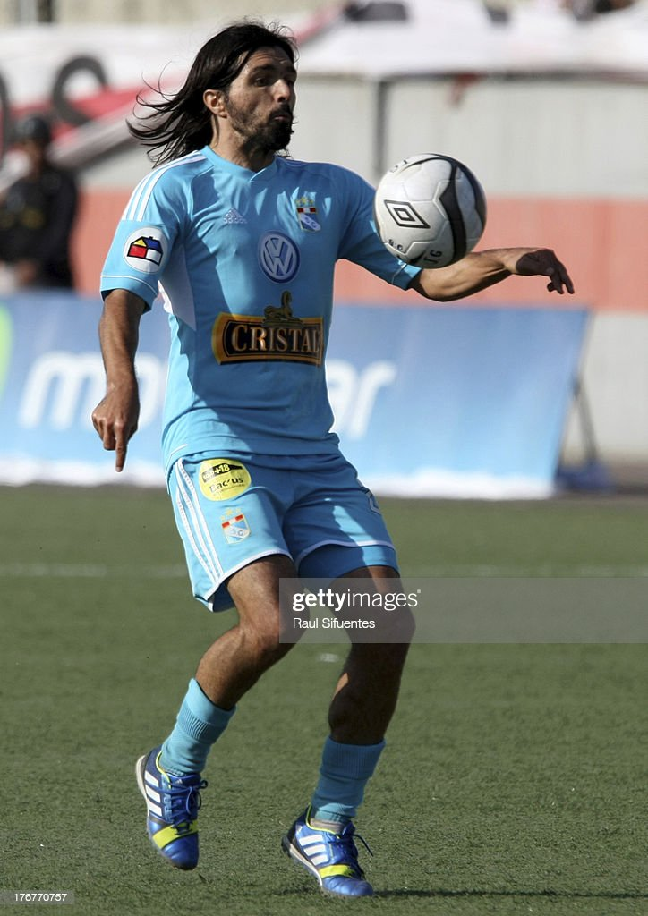 Jorge Cazulo of Sporting Cristal in action during a match between Jose Galvez and Sporting Cristal as part of The Torneo Descentralizado 2013 at the Estadio Manuel Rivera Sanchez on August 18, 2013 in Chimbote, Peru.