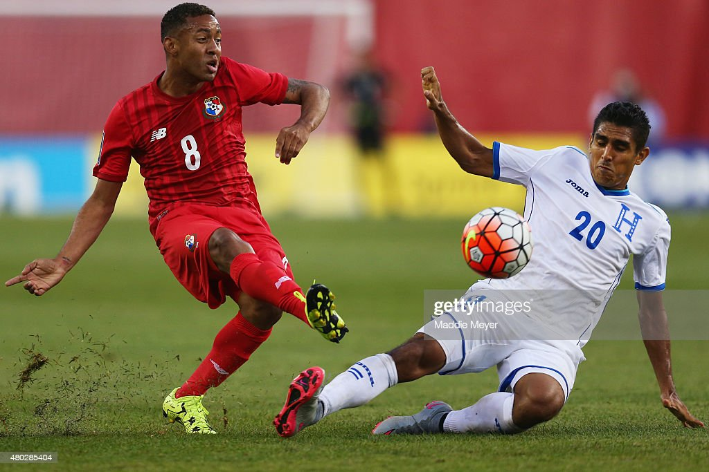 Jorge Claros #20 of Honduras defends Gabriel Torres #8 of Panama during the 2015 CONCACAF Gold Cup match between Honduras and Panama at Gillette Stadium on July 10, 2015 in Foxboro, Massachusetts.