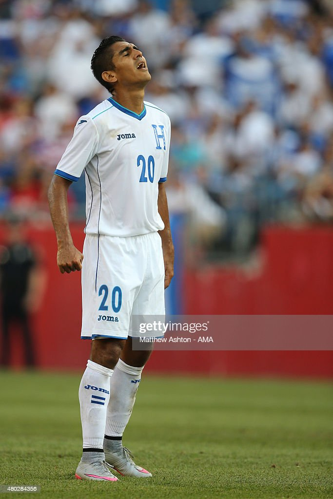 Jorge Claros of Honduras reacts after missing a chance in the first half during the CONCACAF Gold Cup match between Honduras and Panama at Gillette Stadium on July 10, 2015 in Foxboro, Massachusetts.