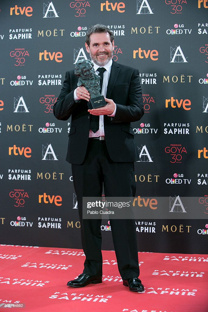 Jorge Coira holds the award for best editing award during the 30th edition of the Goya Cinema Awards at Madrid Marriott Auditorium on February 6, 2016 in Madrid, Spain.