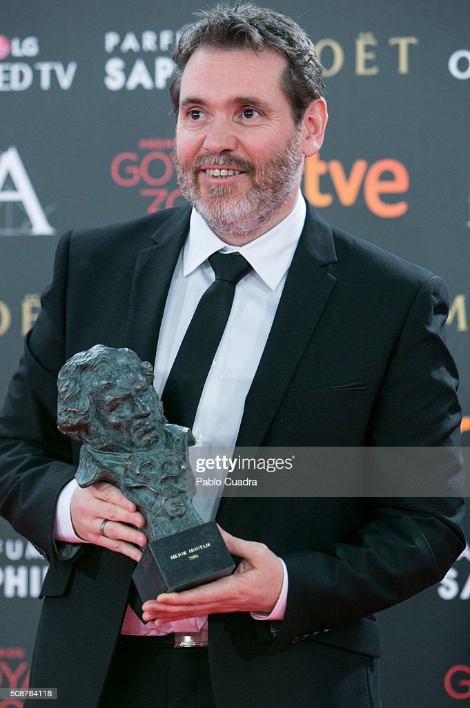 Jorge Coira holds the award for best new director award during the 30th edition of the Goya Cinema Awards at Madrid Marriott Auditorium on February 6, 2016 in Madrid, Spain.
