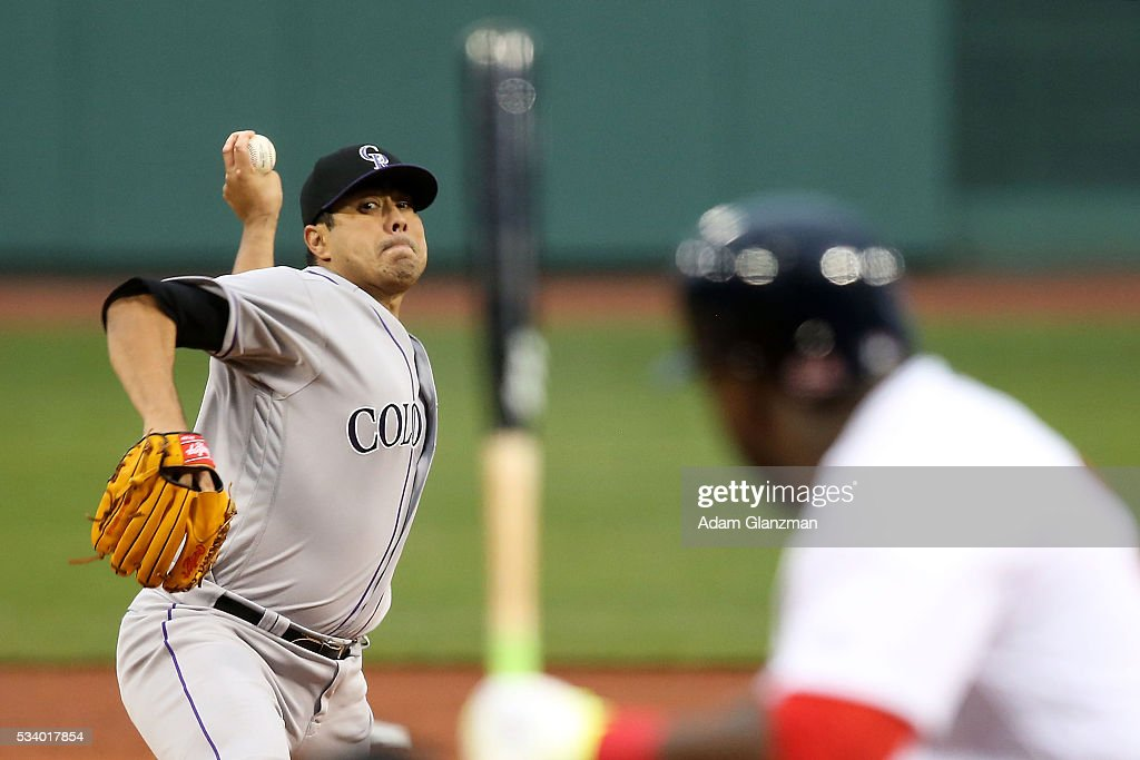 Jorge De La Rosa #29 of the Colorado Rockies pitches to David Ortiz #34 of the Boston Red Sox in the first inning during the game against the Boston Red Sox at Fenway Park on May 24, 2016 in Boston, Massachusetts.