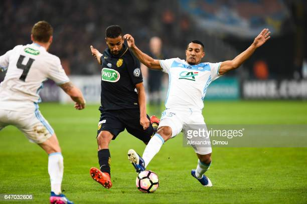 Jorge de Oliveira of Monaco and William Vainqueur of Marseille during the French Cup match between Marseille and Monaco at Stade Velodrome on March 1...